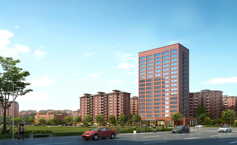An artist's impression of Oakwood Apartments Yangzhou's facade