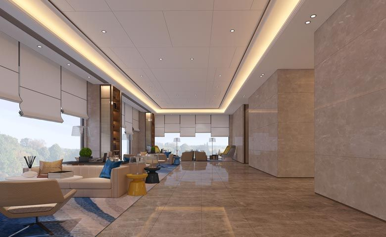 An artist's impression of Oakwood Apartments Yangzhou's lobby