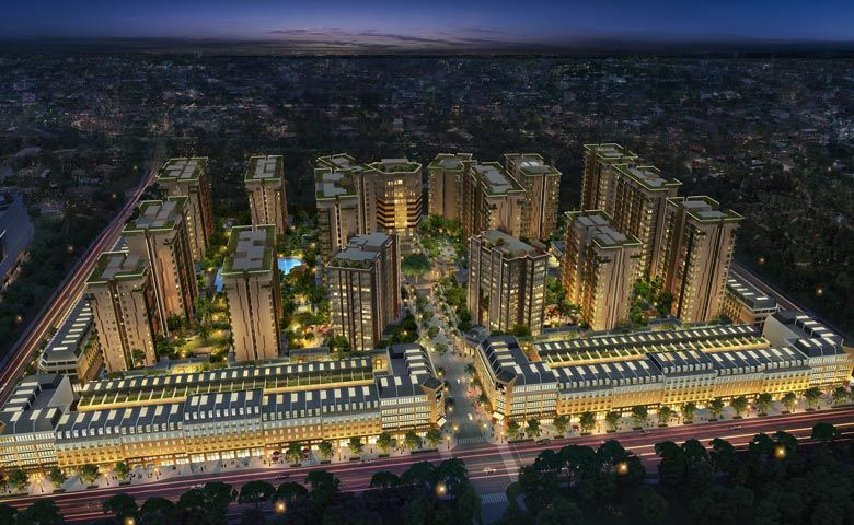 An aerial rendering of Oakwood Premier Phnom Penh and Oakwood Hotel & Residence Phnom Penh within the One Park compound
