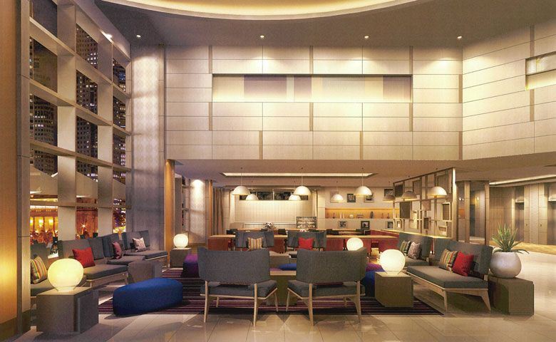 Rendering of Oakwood Hotel & Apartments Shin-Osaka's lobby