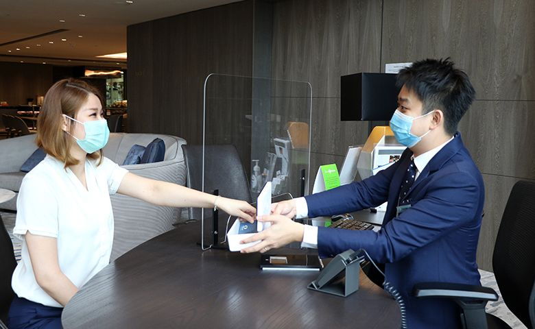 Sanitized Key Cards Presented to Guest in a UV Box at Oakwood Premier AMTD Singapore