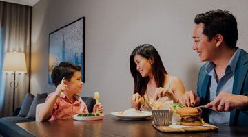Create treasured memories with a family staycation, inclusive of breakfast and a family dining set.