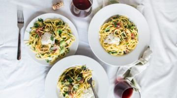 Date Night Plan: Stay in and cook with a DIY pasta kit and bottle of wine.