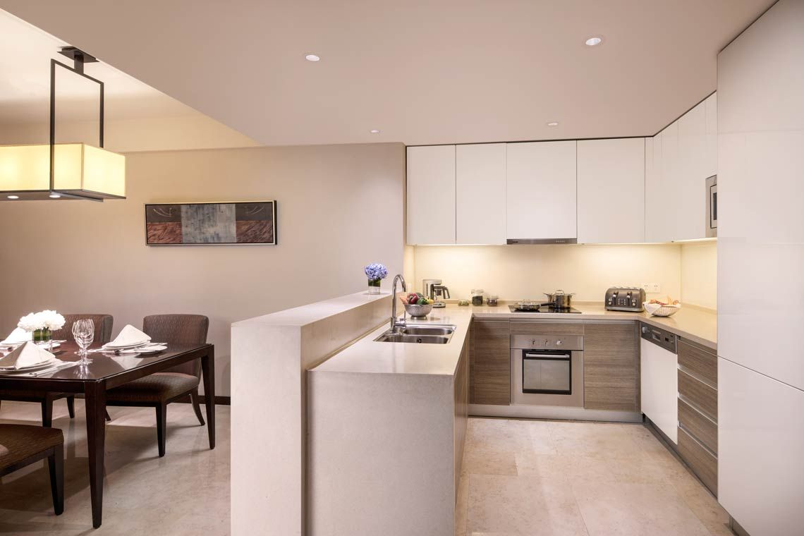 Oakwood Residence Hangzhou's three-bedroom executive apartment's kitchen