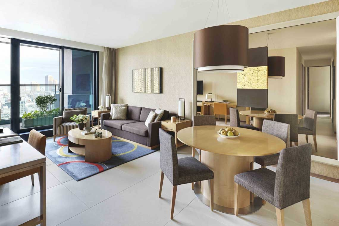 Oakwood Premier Tokyo's three-bedroom executive apartment's living room