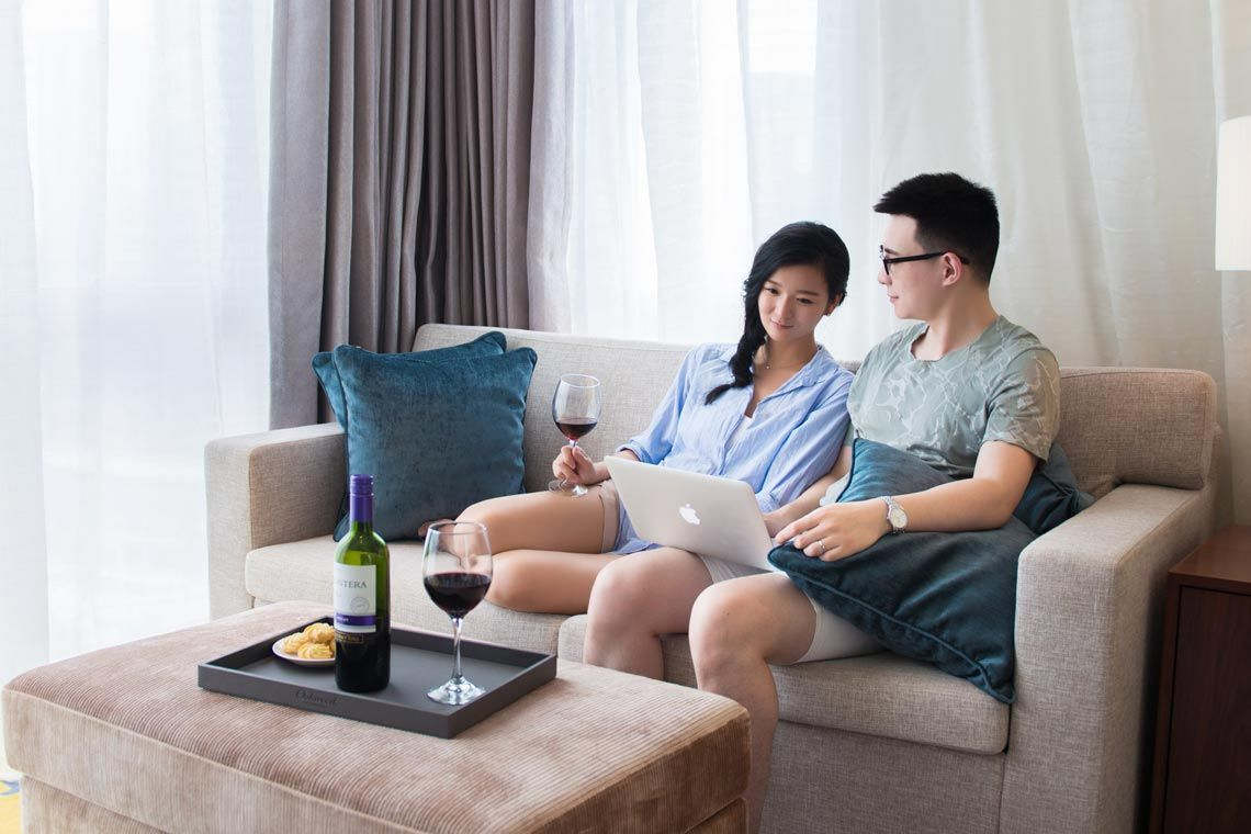 Oakwood Hotel & Residence Suzhou's three-bedroom apartment's study room