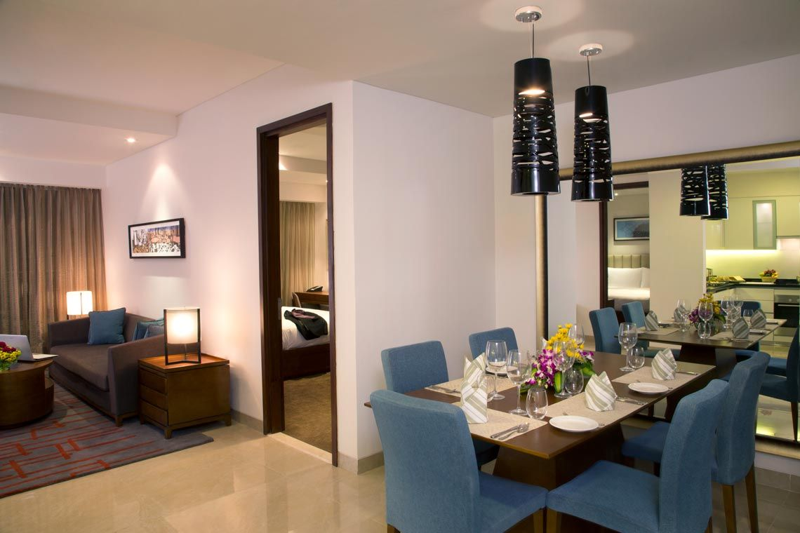 Oakwood Residence Prestige Whitefield, Bangalore's two-bedroom apartment's dining area