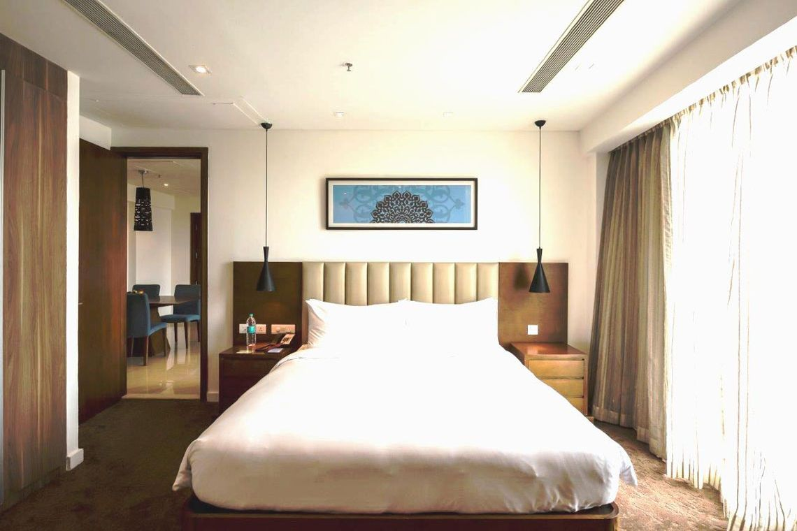 Oakwood Residence Prestige Whitefield, Bangalore's two-bedroom superior apartment's bedroom