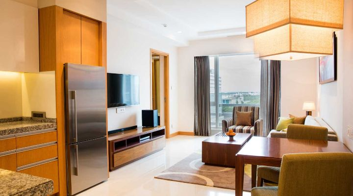 Oakwood Residence Kapil Hyderabad one-bedroom deluxe apartment's living area