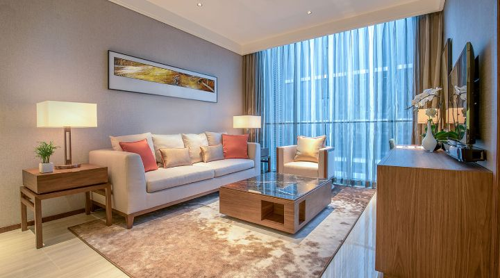 Oakwood Residence Damei Beijing's one-bedroom apartment's living room