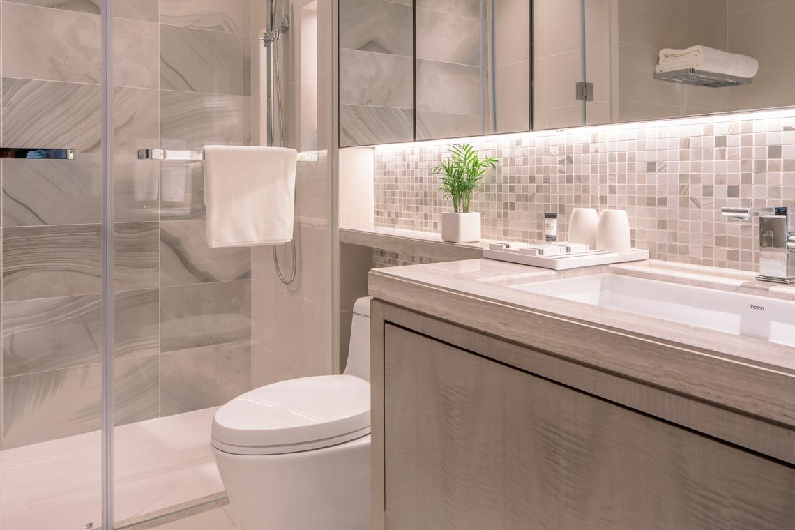 Oakwood Residence Damei Beijing's studio apartment's bathroom