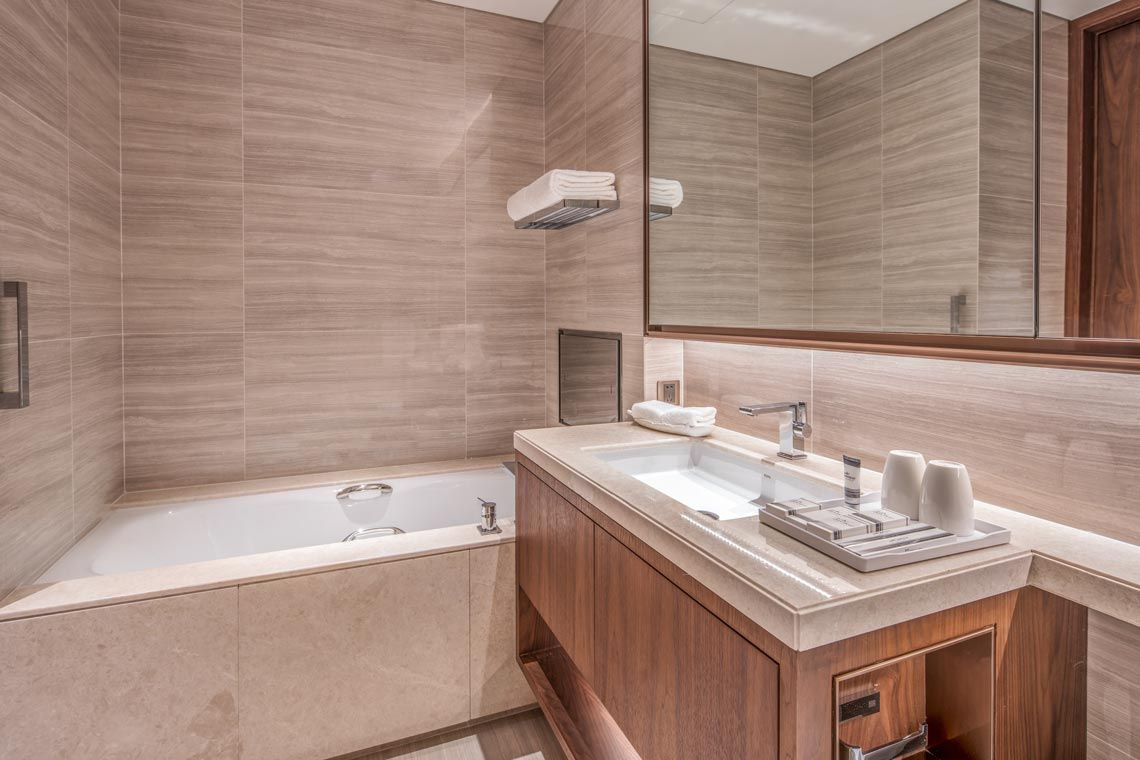 Oakwood Residence Damei Beijing's one-bedroom apartment's bathroom