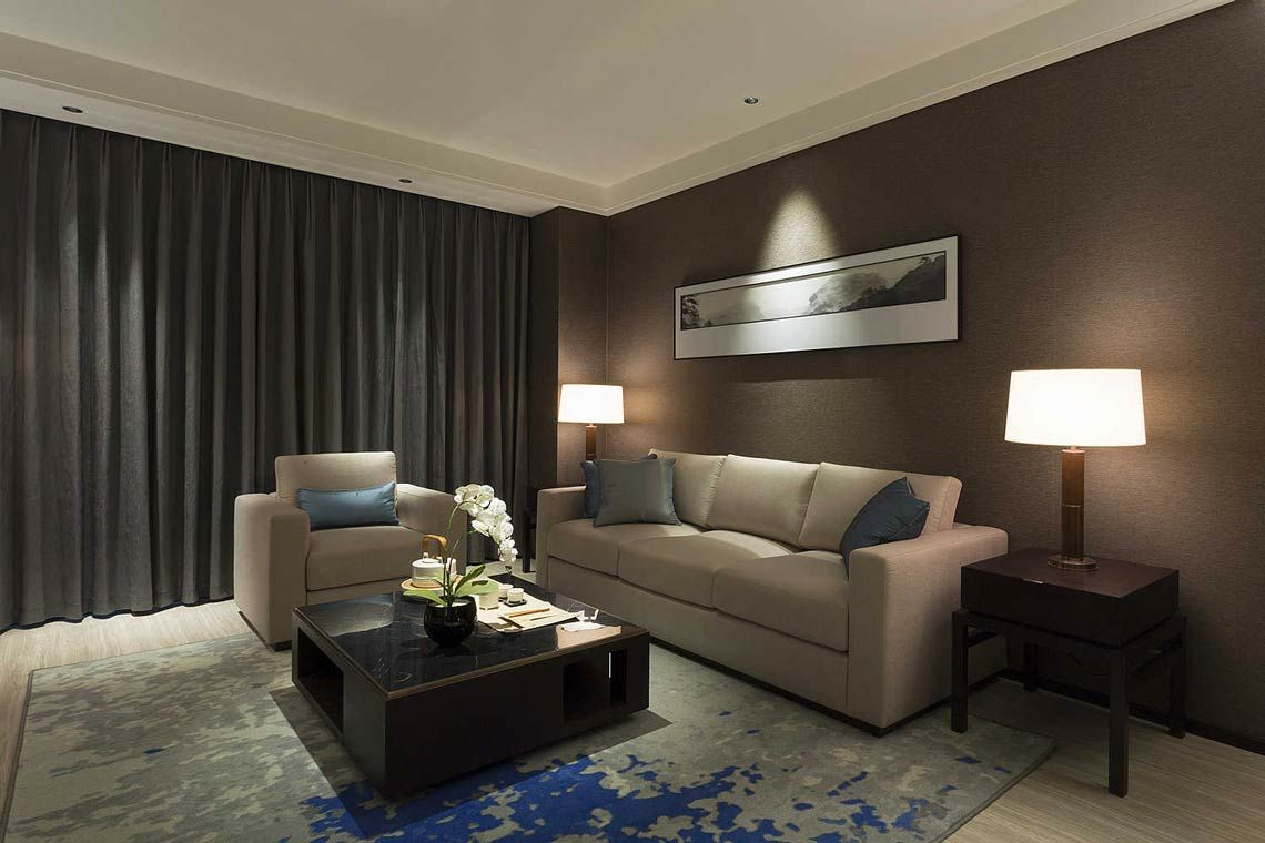 Oakwood Residence Damei Beijing's two-bedroom apartment's living room