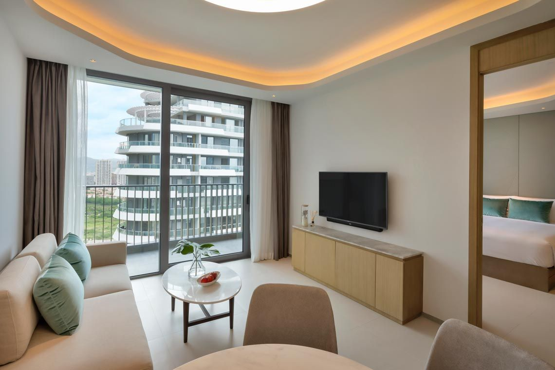 Oakwood Apartments Sanya's one-bedroom deluxe apartment with garden view