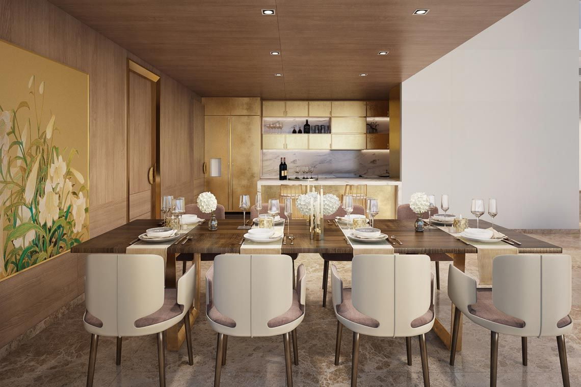 Oakwood Apartments Sanya's four-bedroom penthouse's dining room