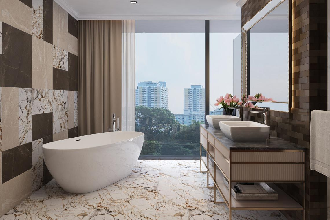 Oakwood Apartments Sanya's four-bedroom penthouse's master bathroom