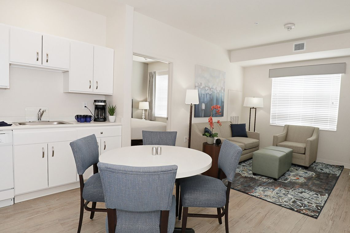 Oakwood WaterWalk San Antonio at the Rim's one-bedroom apartment living room