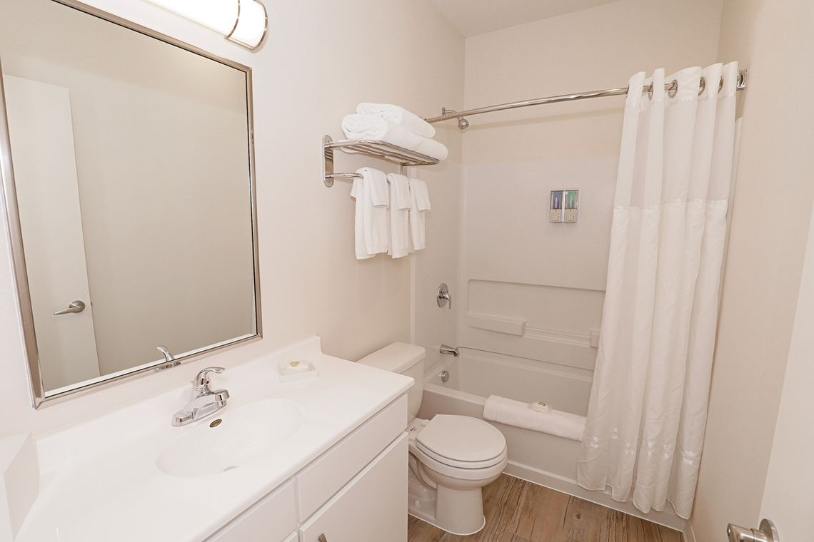 Oakwood WaterWalk San Antonio at the Rim's two-bedroom apartment bathroom
