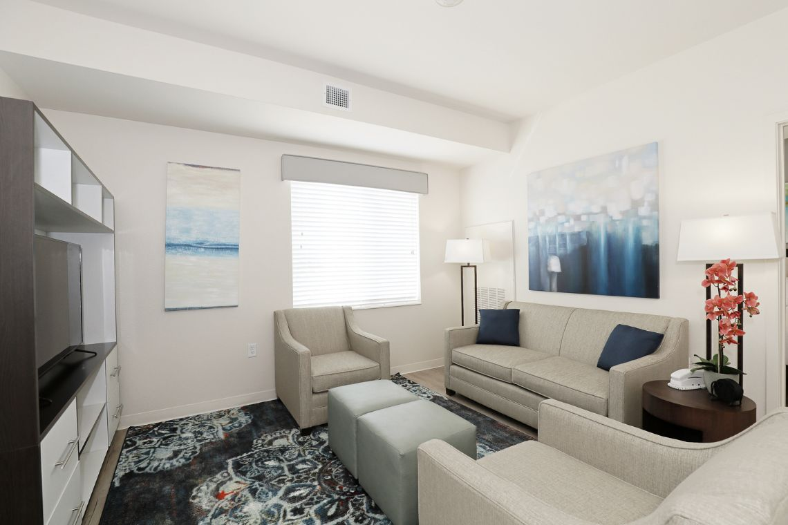 Oakwood WaterWalk San Antonio on the Rim's three-bedroom apartment living room