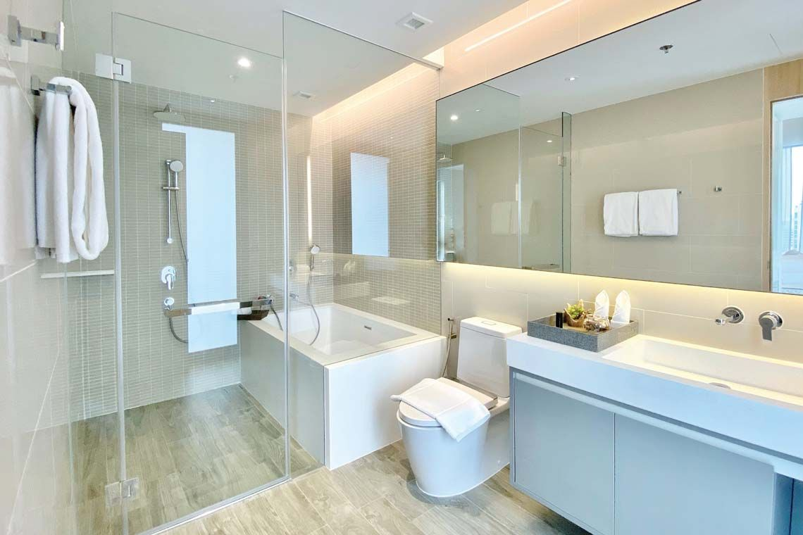 Oakwood Suites Bangkok's two-bedroom deluxe's master bathroom