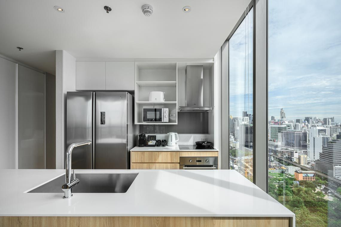 Oakwood Suites Bangkok's two-bedroom superior apartment's kitchen