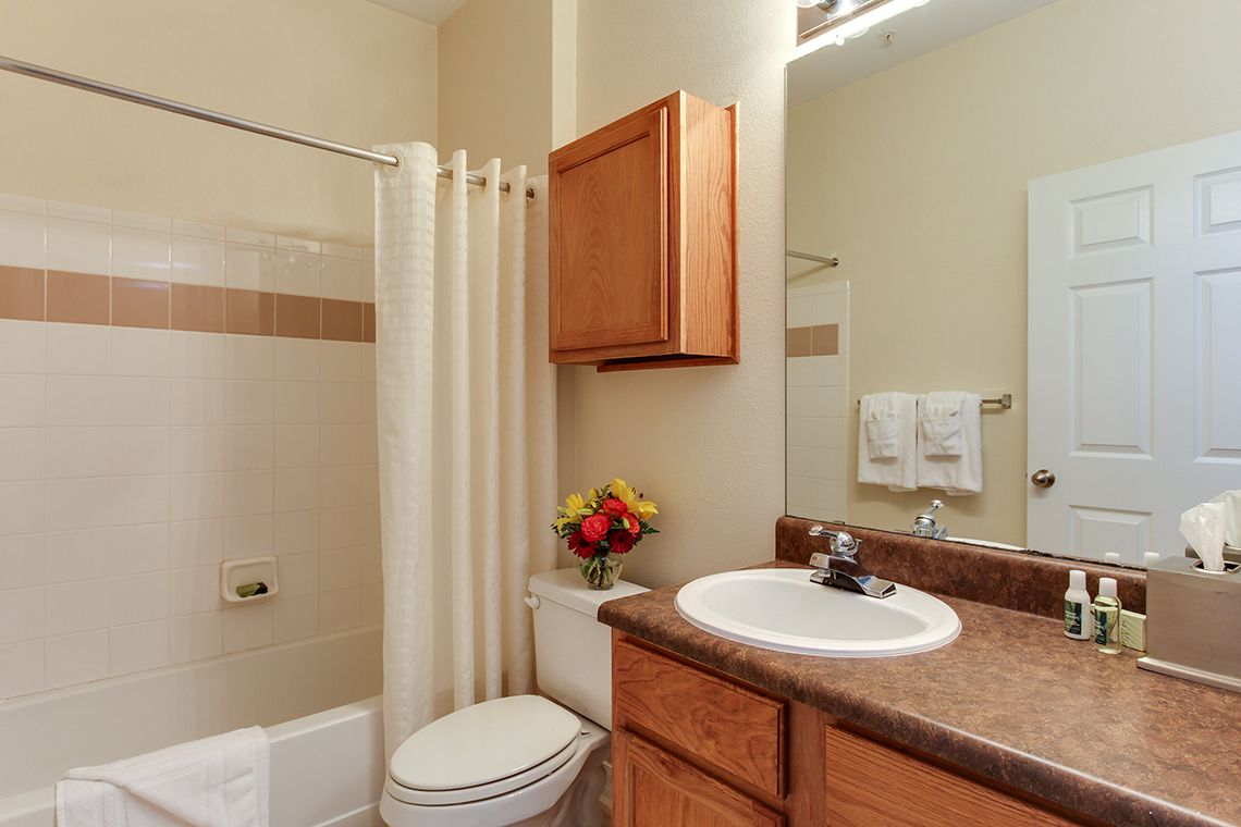 Oakwood Apartments Raleigh Brier Creek's one-bedroom apartment bathroom