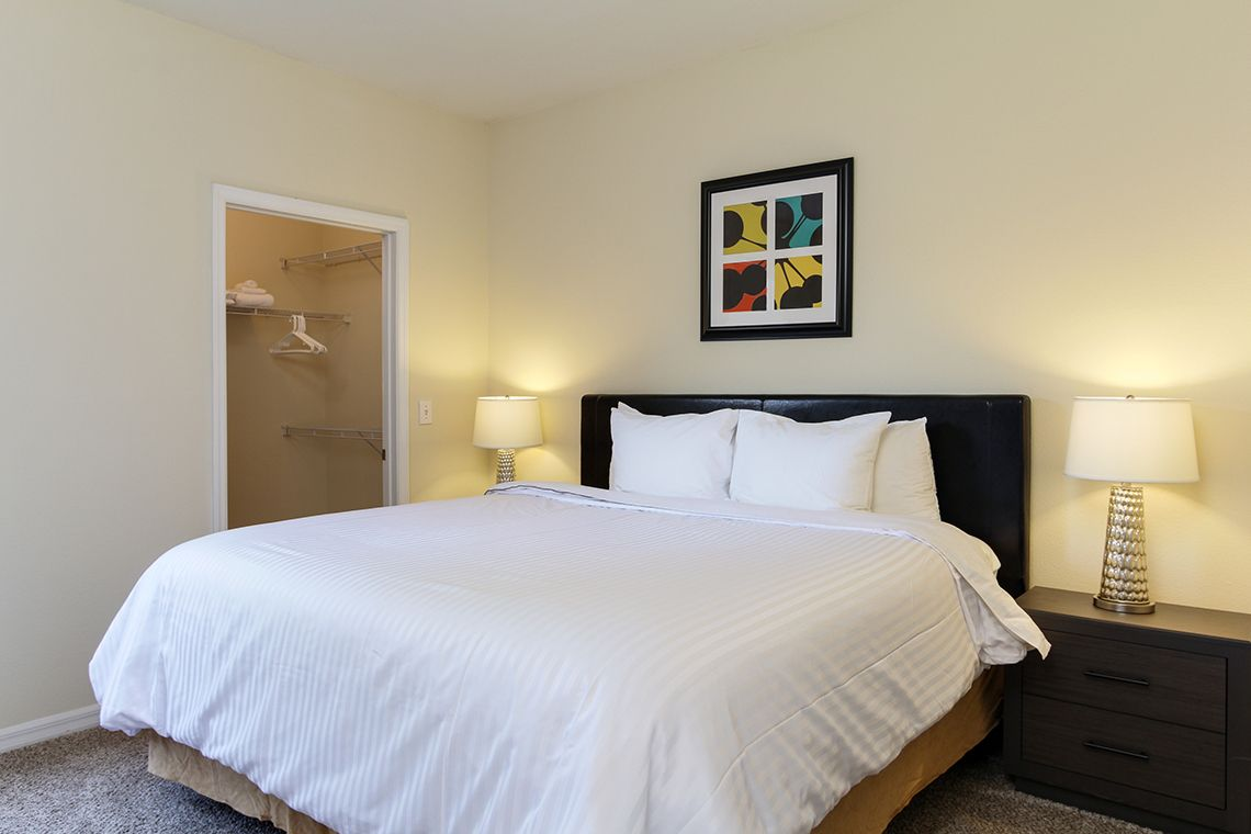 Oakwood Apartments Raleigh Brier Creek's two-bedroom apartment bedroom