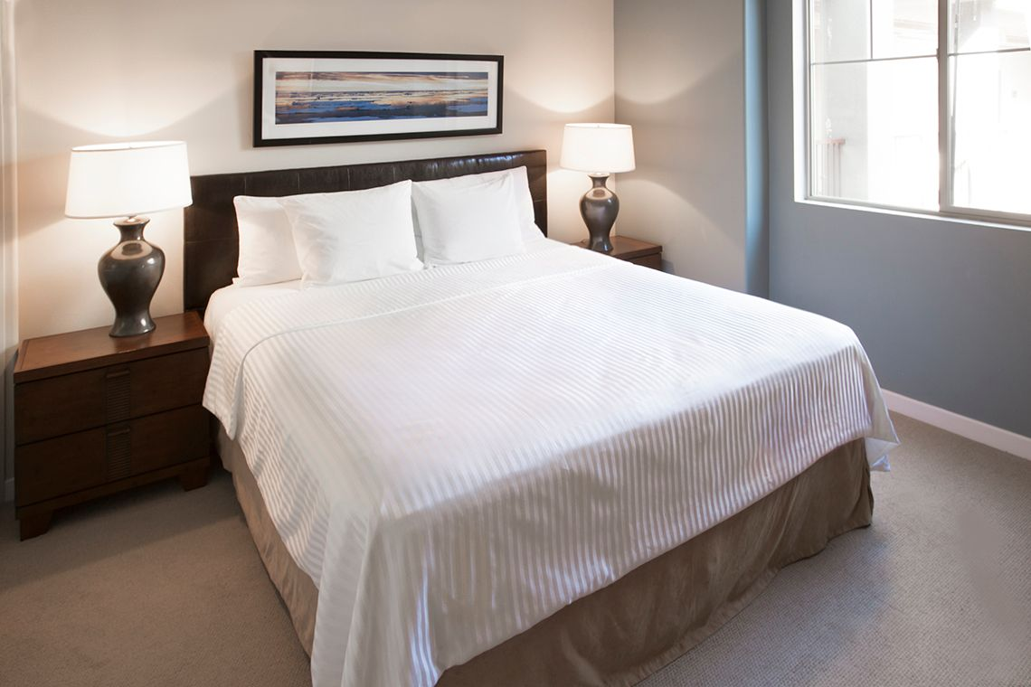 Oakwood Apartments Raleigh Brier Creek's three-bedroom apartment bedroom