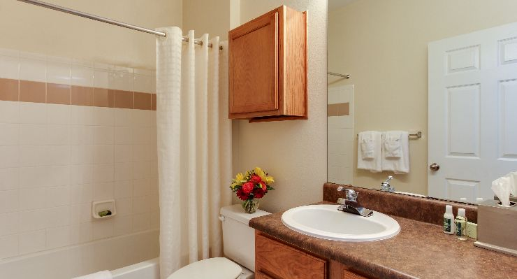 Oakwood Apartments Raleigh Brier Creek's two-bedroom apartment bathroom
