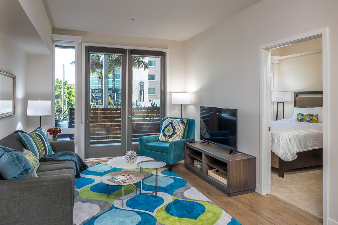 Oakwood Studios Los Angeles Olympic & Olive's two-bedroom apartment living room