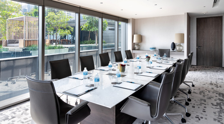 Oakwood Premier AMTD Singapore's executive boardroom