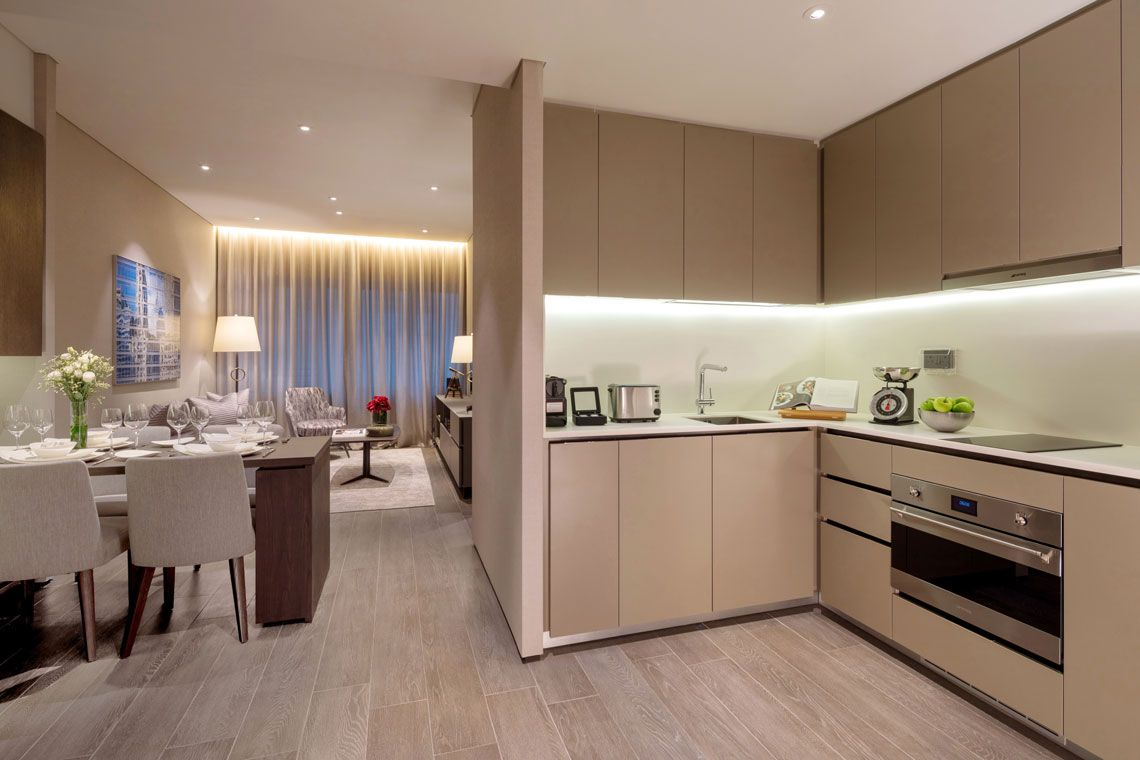 Oakwood Premier AMTD Singapore's one-bedroom executive apartment's kitchen