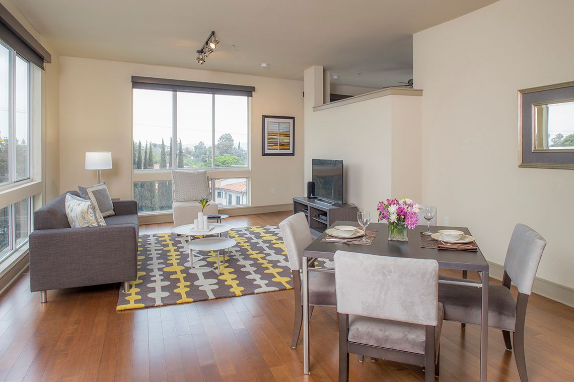 Oakwood Residence Miracle Mile's two-bedroom apartment living room