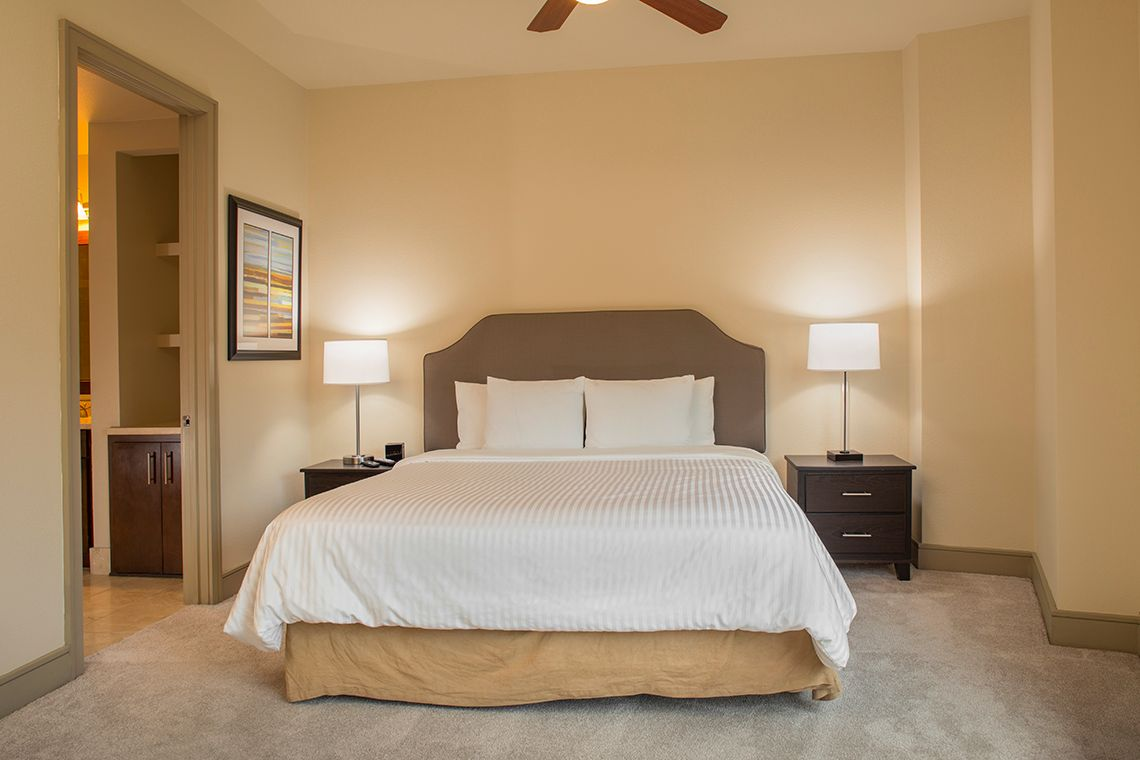 Oakwood Residence Miracle Mile's two-bedroom apartment bedroom