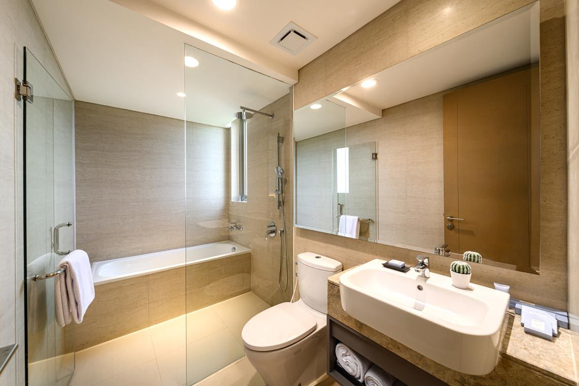 Oakwood Apartments PIK Jakarta's two-bedroom superior apartment's bathroom