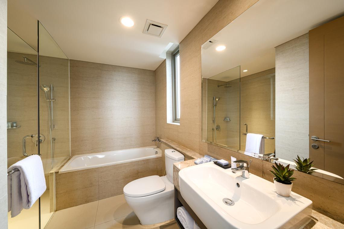 Oakwood Apartments PIK Jakarta's three-bedroom superior apartment's bathroom