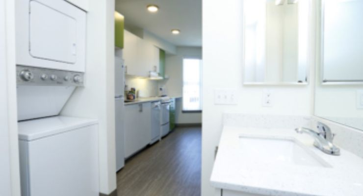 The Lofts at the Junction's one-bedroom apartment in-unit washer & dryer